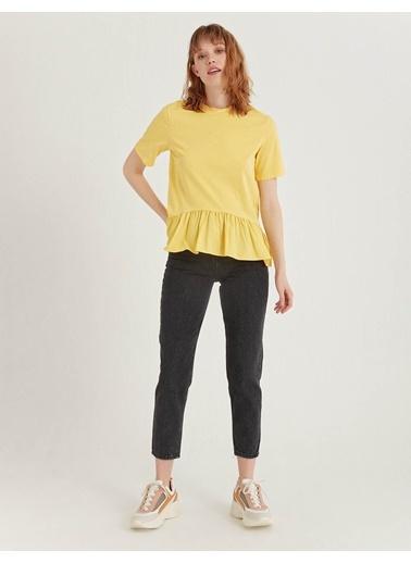 BGN Limon Rengi - Eteği Volan Bluz Sarı